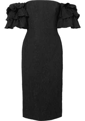 ALEXACHUNG - Off-the Shoulder Ruffled Cloqué Dress - Black