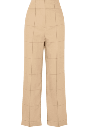 By Malene Birger - Illari Checked Canvas Wide-leg Pants - Beige