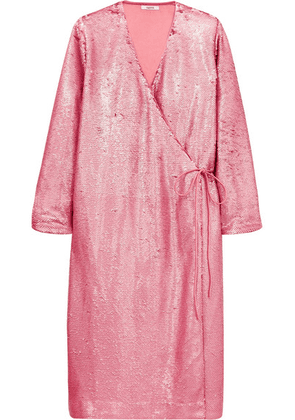 GANNI - Sonora Sequined Satin Wrap Dress - Pink