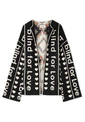 Gucci - Oversized Wool And Cashmere-blend Jacquard Jacket - Black
