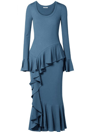 Erdem - Rowan Ruffled Ribbed-knit Midi Dress - Blue