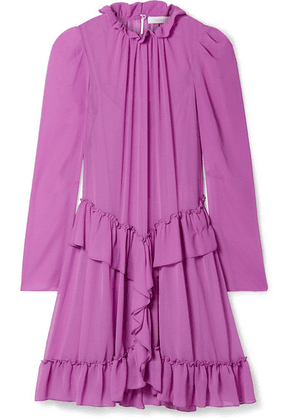 See By Chloé - Ruffled Georgette Mini Dress - Violet