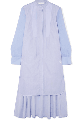 Chloé - Asymmetric Two-tone Cotton-poplin And Crepe De Chine Midi Dress - Blue