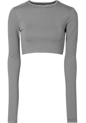 Marc Jacobs - Cropped Striped Stretch-jersey Top - Black