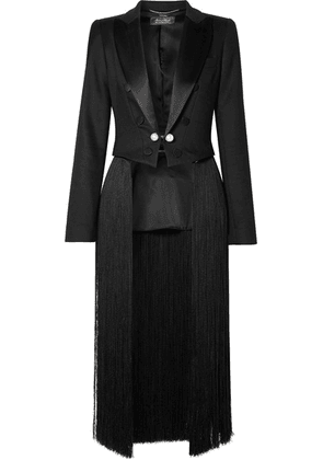 Adam Lippes - Convertible Cropped Fringed Satin-trimmed Twill Blazer - Black