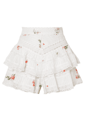 Zimmermann - Heathers Lace-trimmed Ruffled Floral-print Cotton-voile Shorts - White