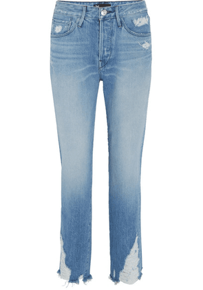 3x1 - W3 Higher Ground Cropped Distressed High-rise Jeans - Mid denim