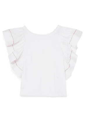 See By Chloé - Ruffled Poplin And Cotton-jersey Top - White