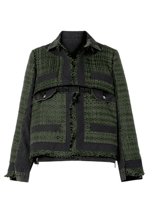 Sacai - Paneled Canvas-trimmed Tweed And Denim Jacket - Army green