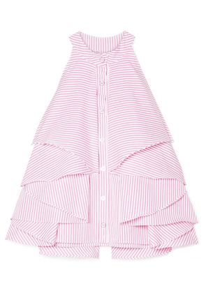 Caroline Constas - Adrie Ruffled Striped Cotton-poplin Blouse - Fuchsia