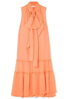 See By Chloé - Pussy-bow Tiered Crepon Dress - Orange
