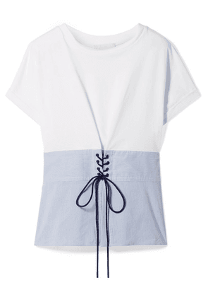 3.1 Phillip Lim - Lace-up Cotton-jersey And Striped Poplin Top - White