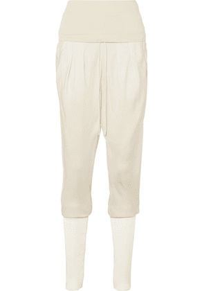 TOM FORD - Jersey-paneled Washed-twill Track Pants - Ivory