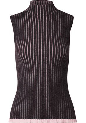 Burberry - Striped Ribbed Cashmere And Silk-blend Turtleneck Top - Charcoal
