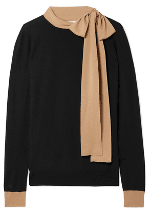 Marni - Tie-neck Two-tone Wool Sweater - Black