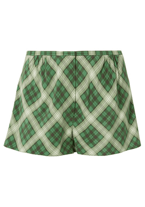 Marc Jacobs - Plaid Washed-silk Shorts - Green