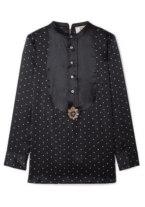 Figue - Milagro Embellished Polka-dot Silk-satin Blouse - Midnight blue