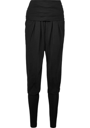 TOM FORD - Ruched Jersey-paneled Twill Track Pants - Black
