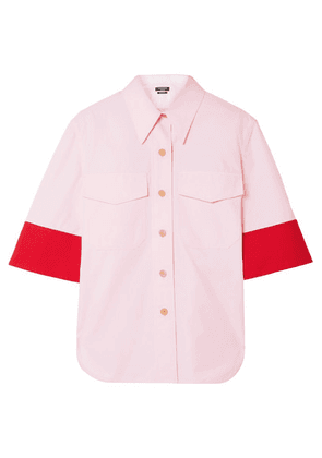 CALVIN KLEIN 205W39NYC - Two-tone Wool-twill Trimmed Cotton-poplin Shirt - Baby pink