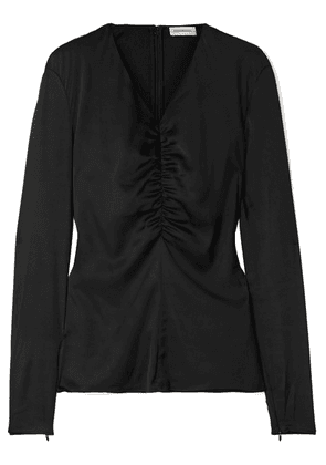 By Malene Birger - Ifaya Gathered Silk-blend Satin Top - Black