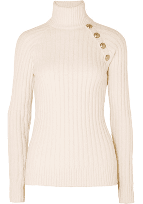 Balmain - Button-embellished Ribbed Cotton-blend Turtleneck Sweater - Off-white