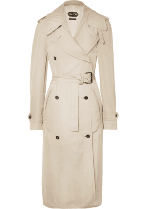 TOM FORD - Double-breasted Leather-trimmed Twill Trench Coat - Beige