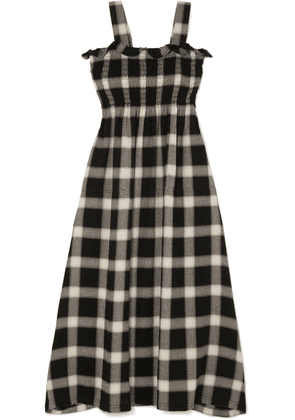 MM6 Maison Margiela - Convertible Smocked Checked Flannel Dress - Black