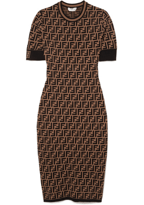 Fendi - Stretch Jacquard-knit Dress - Dark brown