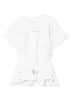 Carven - Embellished Stretch-cotton Jersey Top - White