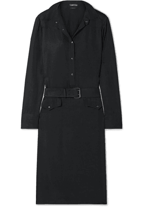 TOM FORD - Belted Washed Crepe De Chine Dress - Black