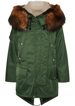Burberry - Faux Fur-trimmed Shell Parka - Army green