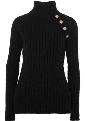 Balmain - Button-embellished Ribbed Cotton-blend Turtleneck Sweater - Black