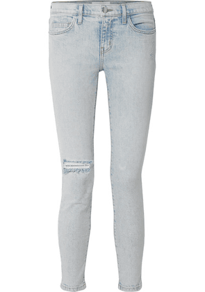 Current/Elliott - The Stiletto Distressed Mid-rise Skinny Jeans - Light denim
