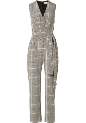 L'Agence - Julia Prince Of Wales Checked Silk-crepe Jumpsuit - Black
