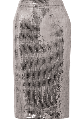 Alice + Olivia - Rue Sequined Chiffon Skirt - Silver