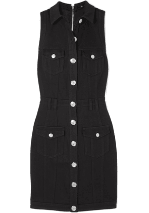 Balmain - Button-embellished Denim Dress - Black
