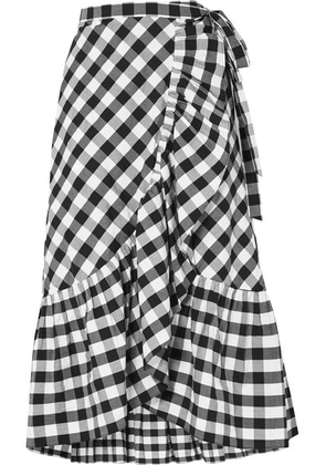 J.Crew - Glo Ruffled Gingham Cotton-poplin Wrap Skirt - Black