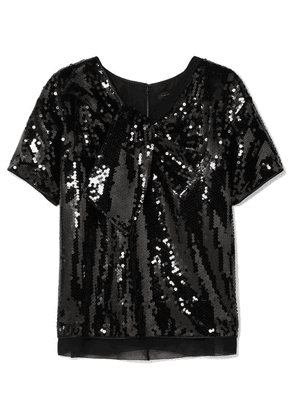 Marc Jacobs - Satin-paneled Sequined Georgette Top - Black