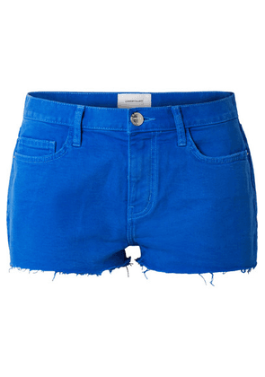 Current/Elliott - The Boyfriend Frayed Denim Shorts - Bright blue