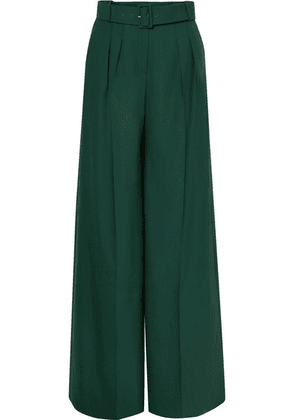 Erdem - Ilaria Belted Pleated Grain De Poudre Wool-blend Wide-leg Pants - Green