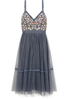 Needle & Thread - Whimsical Embroidered Tulle Dress - Blue