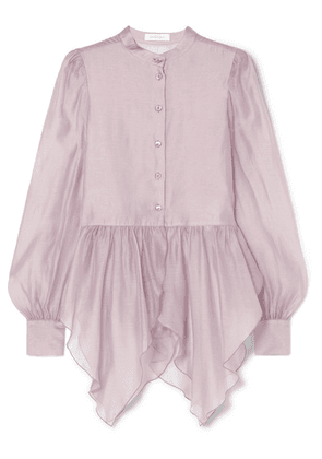 See By Chloé - Ruffled Organza Peplum Blouse - Lavender