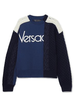 Versace - Paneled Cable-knit Wool And Cotton-jersey Sweater - Navy