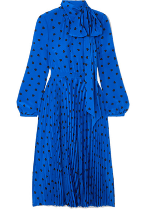 Valentino - Pussy-bow Pleated Printed Silk Midi Dress - Bright blue