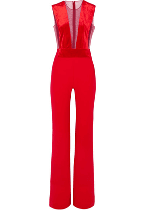 Galvan - Gwyneth Velvet And Tulle-paneled Crepe Jumpsuit - Red