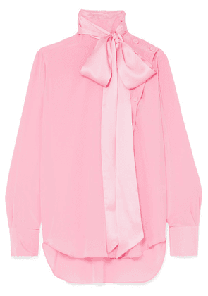 Adam Lippes - Asymmetric Pussy-bow Silk-crepe Blouse - Pink