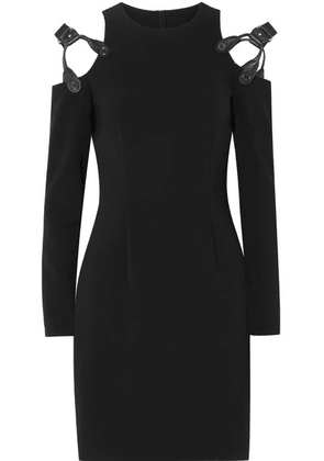 Moschino - Cold-shoulder Leather-trimmed Crepe Mini Dress - Black
