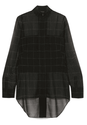 Akris - Checked Mulberry Silk-georgette Blouse - Black