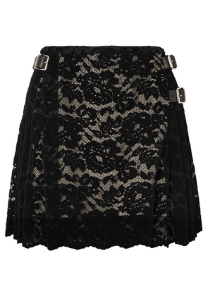 Christopher Kane - Pleated Flocked Lace Mini Skirt - Black