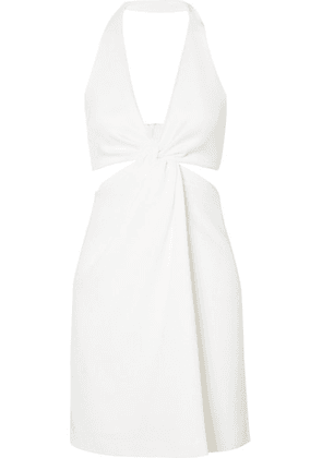 Galvan - Eclipse Twist-front Stretch-jersey And Crepe Halterneck Mini Dress - White